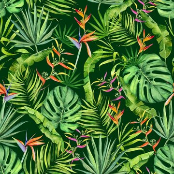 Watercolor tropical leaves and flowers pattern. Monstera, heliconia and  palm leaves handdrawn pattern. Colorfull pattern for design textile, wallpapers, prints and banners.