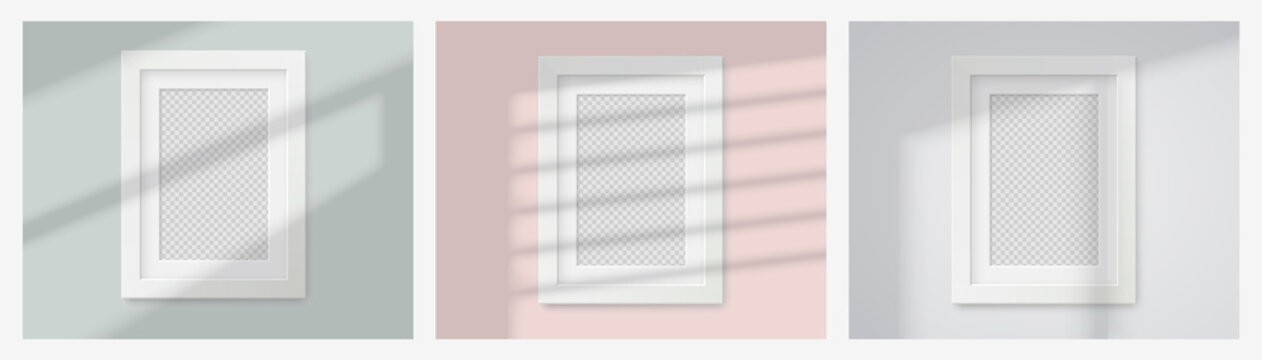 Realistic mockup picture frame white color with Overlay effects. Vector illustration EPS10