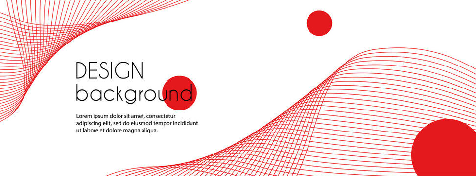 Abstract long vector banner with red wavy lines. Minimal background for facebook cover, web header design with copy space for text