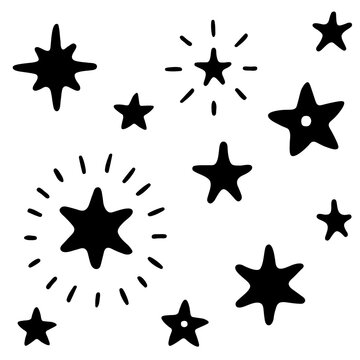 A set of simple cute doodle stars. Hand drawn vector illustration for greeting cards, textiles, fabrics, stickers, goods and professional design. Black outlines isolated on a white  background.