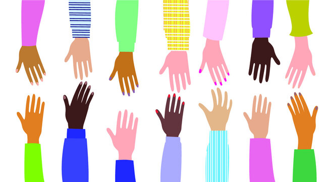 Male and female hands of different cultures and peoples. Hands outstretched to each other. Help, mutual assistance. Flat style. Vector illustration.