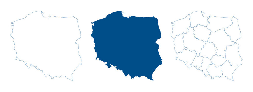 Poland map vector. High detailed vector outline, blue silhouette and administrative divisions map of Poland. All isolated on white background. Template for website, design, cover, infographics