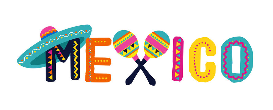 Mexico, Cinco de Mayo - May 5, federal holiday in Mexico. Fiesta banner and poster design with flags, flowers, decorations