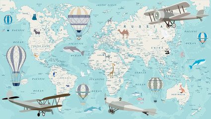 Obraz Old geography travel map with regional animals and aircrafts - fototapety do salonu