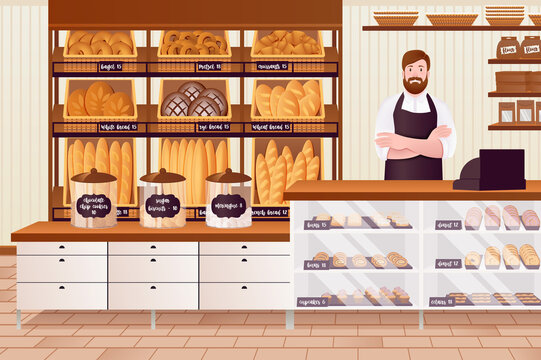 Cartoon Color Character People Man and Bakery Interior Concept. Vector