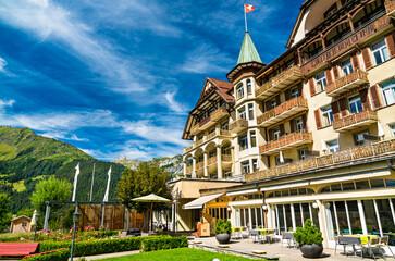 Fototapeta Architecture of Wengen in Switzerland