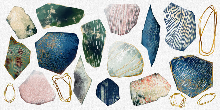 A large set of abstract elements. Watercolour strokes, brushes, paints, textured shapes.
