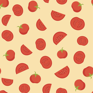 Tomato seamless pattern with slice. Red and yellow graphic design element. Vegetable motif wallpaper or background