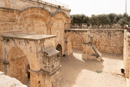 Closed Golden Gate - Gate of Mercy on the Temple Mount in the Old Town of Jerusalem in Israel