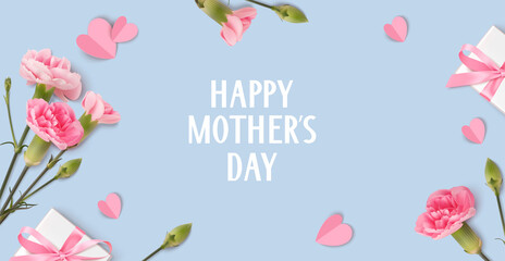 Fototapeta Happy Mothers day. Holiday design template with realistic pink carnation flowers, gift box and paper hearts on blue background. Spring banner. Vector stock illustration.