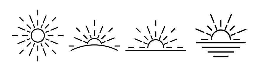Fototapeta Sun icons set - vector thin line sunshine and sun burst symbols or logo elements