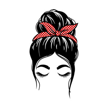 woman face with messy hair in a bun and long eyelashes. Mom life cutfile. vector illustration