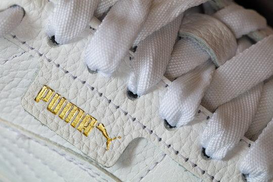 Lviv, Ukraine: April 9, 2021: White Puma sneakers