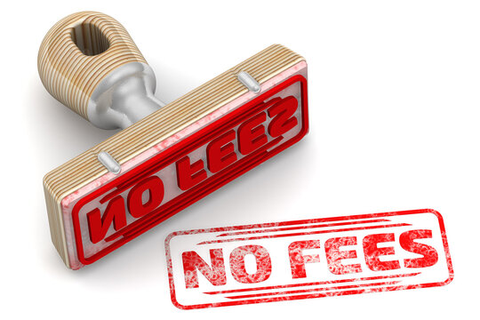 No fees. The stamp and an imprint. Rubber stamp and red imprint NO FEES on white surface. 3D illustration