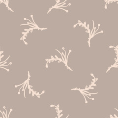 Seamless minimalist doodle flower pattern background. Calm two tone color wallpaper. Simple modern scandi unisex baby design. Organic childish gender neutral baby all over print. Hand drawn floral.