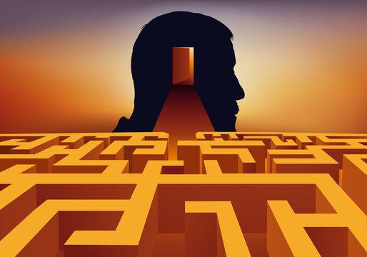 Concept de la psychanalyse avec un labyrinthe à franchir pour accéder à la conscience d'un homme.