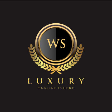 WS Letter Initial with Royal Luxury Logo Template