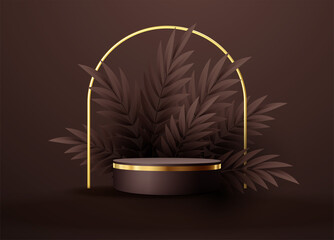 Minimal black scene with geometric shapes and palm leaves. Cylindrical gold and black podium on a brown chocolate background. 3D stage for displaying a cosmetic product - fototapety na wymiar