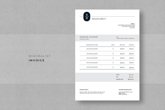Minimalist Invoice  Easy to edit and customise, with a single page invoice design, - A4 Size  - Print Ready - 300 DPI - Easy to Use - Free Font Used
