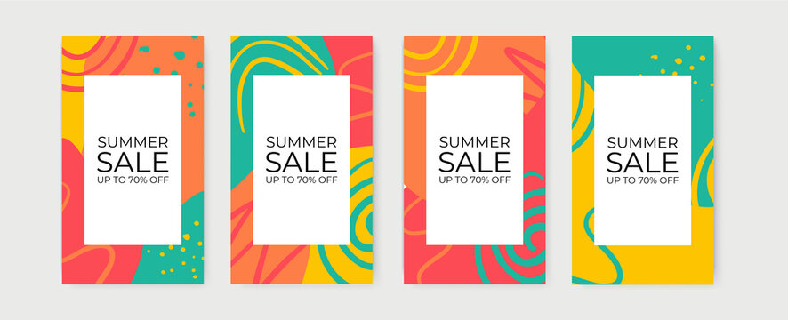 Vector set of summer spring floral social media stories design templates, backgrounds with copy space for text - summer backgrounds for banner, greeting card, poster and advertising