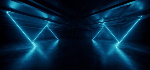 Cyber Parking Alien Spaceship Virtual Neon Sign Glowing Lasers Glowing Vibrant Blue Cement Basement Warehouse Tunnel Corridor Dark Showroom Club Retro 3D Rendering