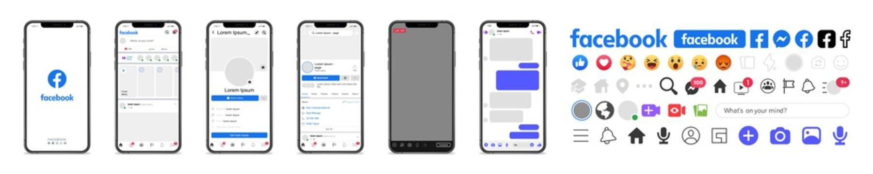 Facebook. Facebook mockup. Facebook mobile App interface template on Apple Iphone mockup. Mockup page template. Editorial vector illustration. Rivne, Ukraine - April 12, 2021
