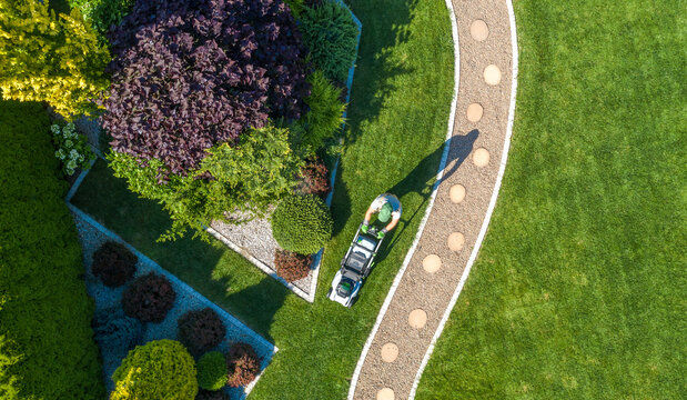 Landscaping Job Grass Mowing Aerial