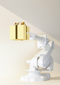 robotic arm holding a yellow gift box