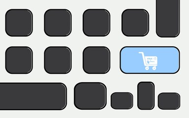 Fototapeta Click & collect, achat en ligne à emporter, clavier d'ordinateur