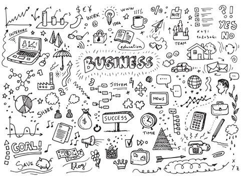 Business doodles vector hand drawn set
