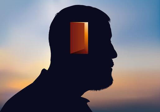 Concept de la psychanalyse avec symboliquement une porte à franchir pour accéder à la conscience d'un homme.