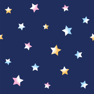 Seamless pattern of stars on blue background.