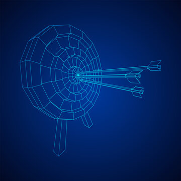 Archery target. Arrows hit round target goal concept. Wireframe low poly mesh vector illustration