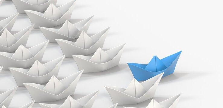 direction paper boat ship business concept 3d
