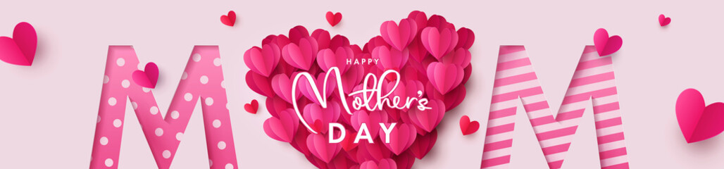 Obraz Happy Mothers Day banner. Holiday background with big heart made of pink and red Origami Hearts on soft pink background with paper cut Mom text. Design for fashion ads, poster,  header for website - fototapety do salonu