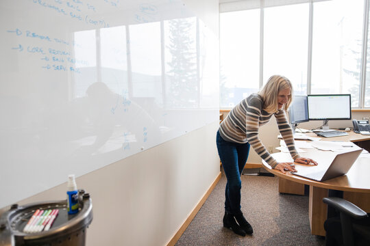 Woman using laptop next to whiteboard in office