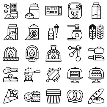 Bakery and baking related line icon set 3