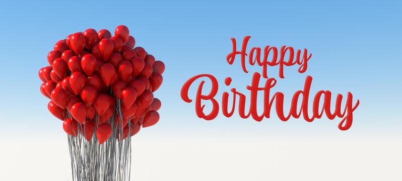 Geburtstag Grußkarte mit vielen roten Luftballons die im Himmel fliegen