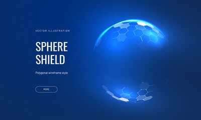 Fototapeta Dome shield geometric vector illustration on a blue background. Geometric translucent shield futuristic for protection in an abstract glowing style