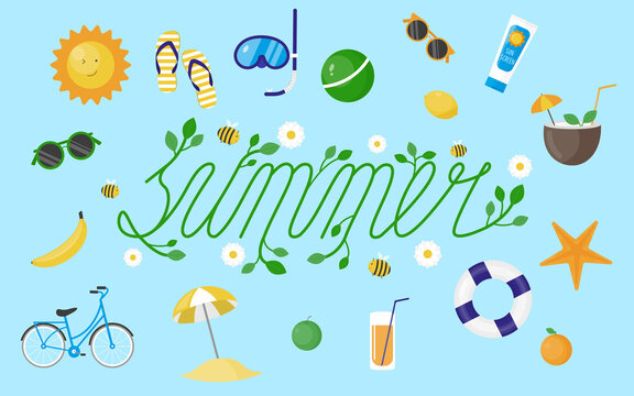 Set of summer vector elements. Colorful vector clipart. Beach items illustration. Summer activity icons set.