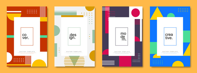Obraz Set of cover and poster design template. Trendy abstract geometric shape for banners, business promotion, event, flyer and page layout design. - fototapety do salonu