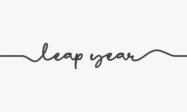 leap year text handwritten design vector.
