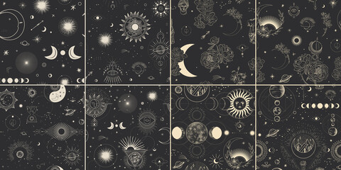 Fototapeta Vector illustration set of moon phases. Different stages of moonlight activity in vintage engraving style. Zodiac Signs, shining crystals, female hand