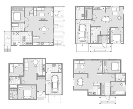 house layout blueprint vector apartment design project