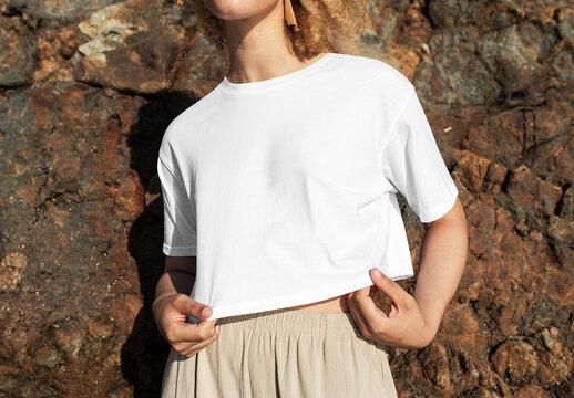 Woman Wearing Simple White Tshirt Mockup