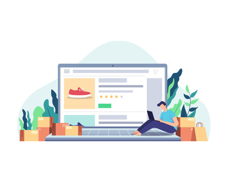 Man shopping online concept. Man sitting on the laptop, Shopping online at home using laptop. Customer selects the goods to order, Boy with laptop next to paper bags and packages. Vector in flat style