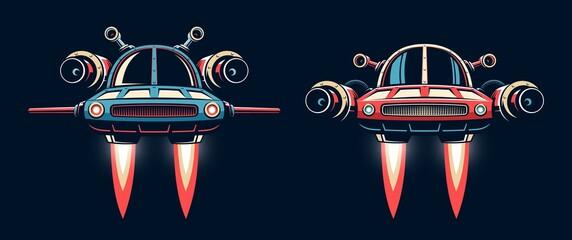 Fototapeta Sci-fi Spaceship flying. Fantastic flying car. Vector retro illustration.