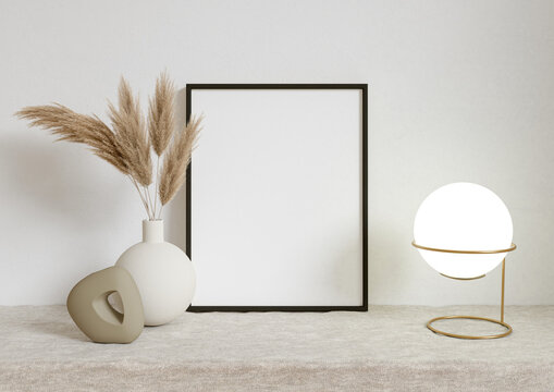 Single 8x10 Vertical Black Frame mockup on a textile cover with dry plant in vase and desktop light. 3D Rendering