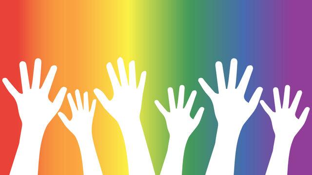 Hands up, lgbt gradient background, pride
