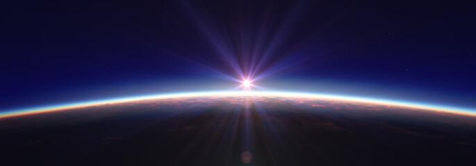 Fototapeta Earth sunrise from space over cloudy ocean. 3d rendering